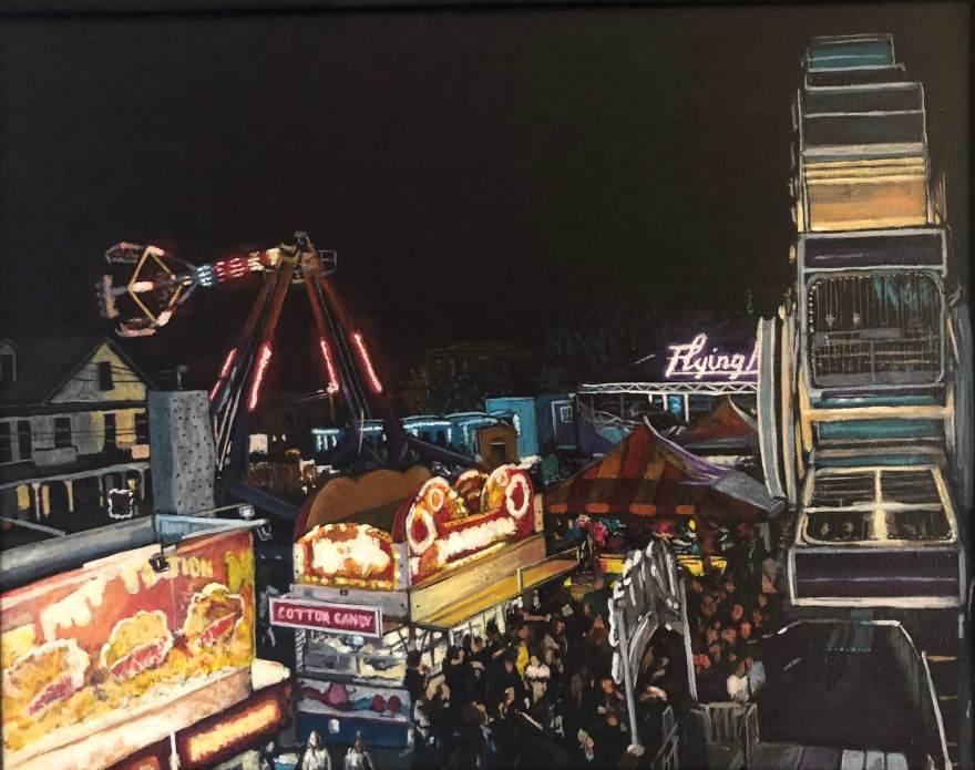 """The Fair at Night 11""""x14"""" acrylic on canvas 10/18"""