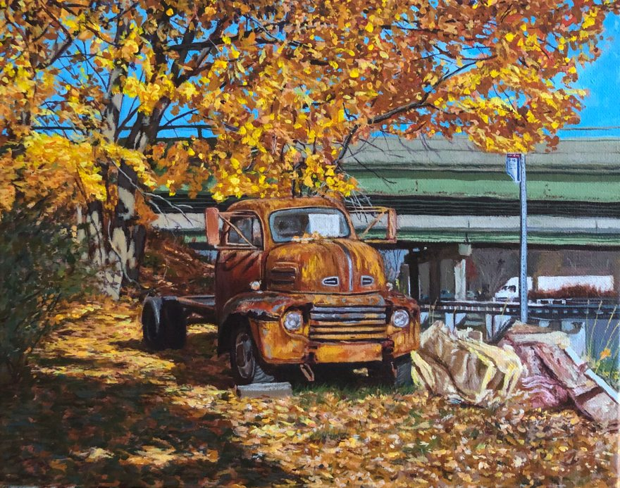 "Truck w/ Insulation 11""x14"" acrylic on canvas 11/18"