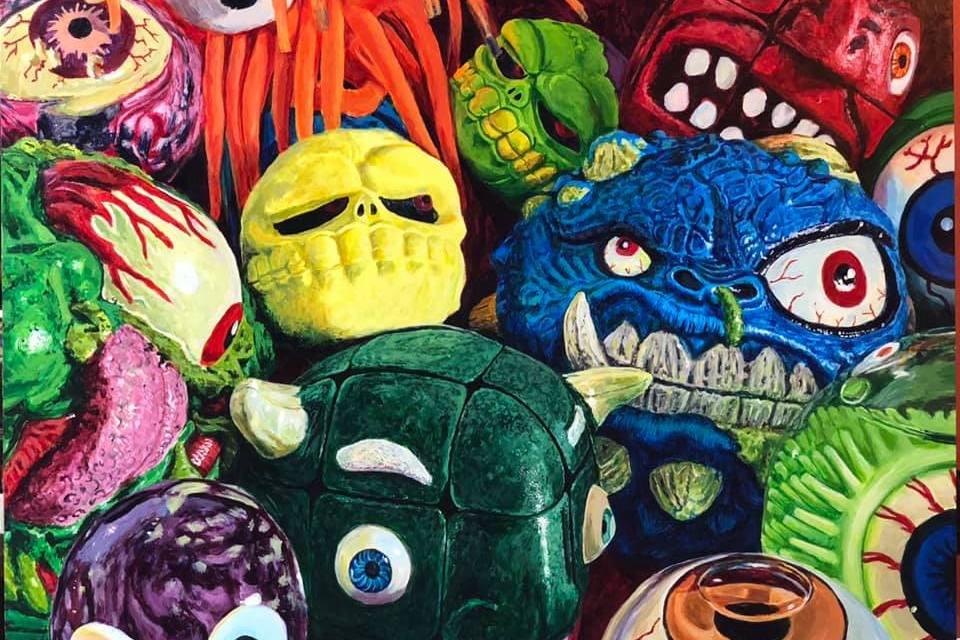 """Monsters 16""""x20"""" acrylic on panel Chris Bordenca 3/19"""