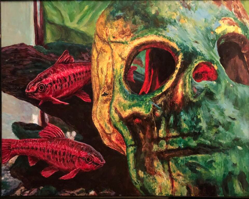 "Skull Fish - 11""x14"" acrylic on canvas 2018"