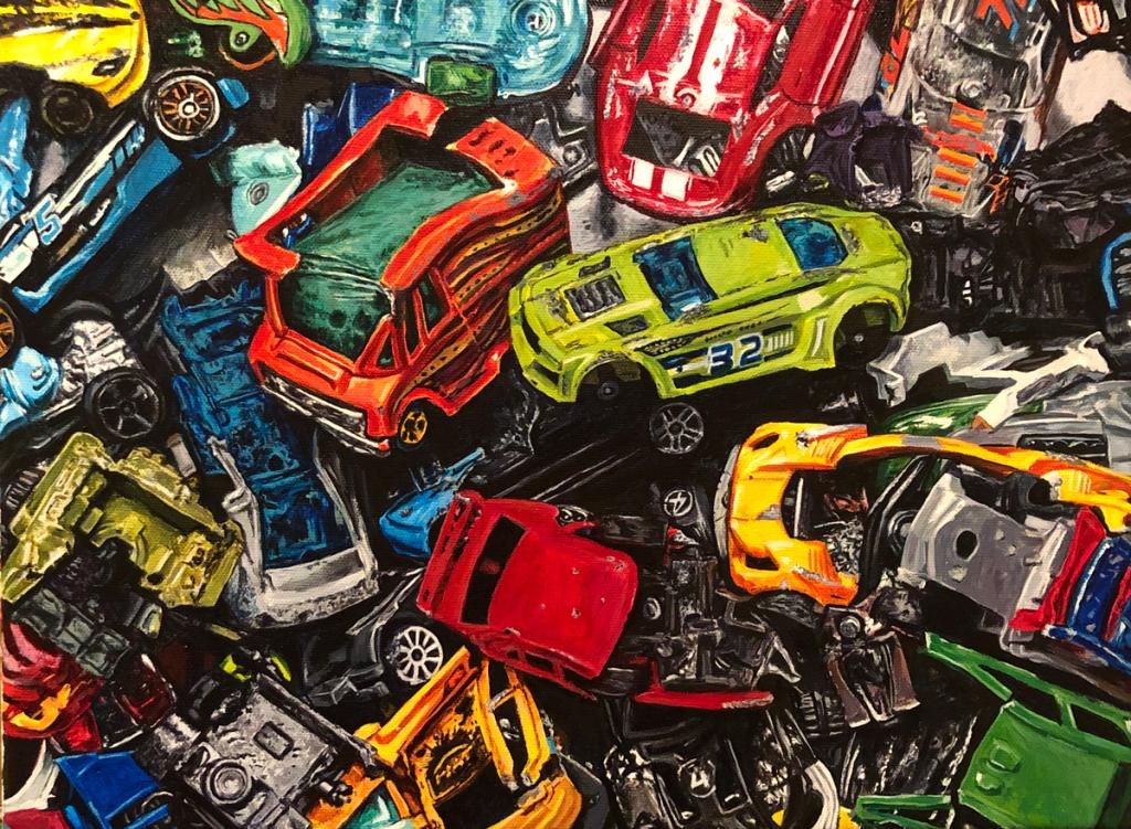 """Smashed Cars - 12""""x16"""" acrylic on canvas 2019"""