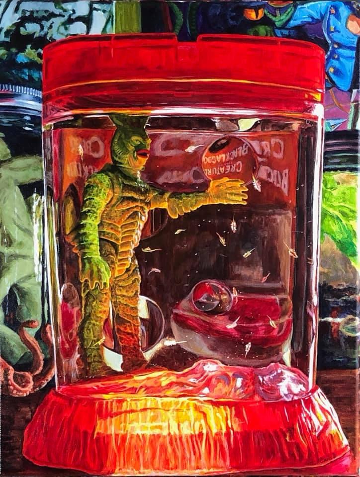 "Creature with Sea Monkeys  16""x14"" acrylic on canvas"