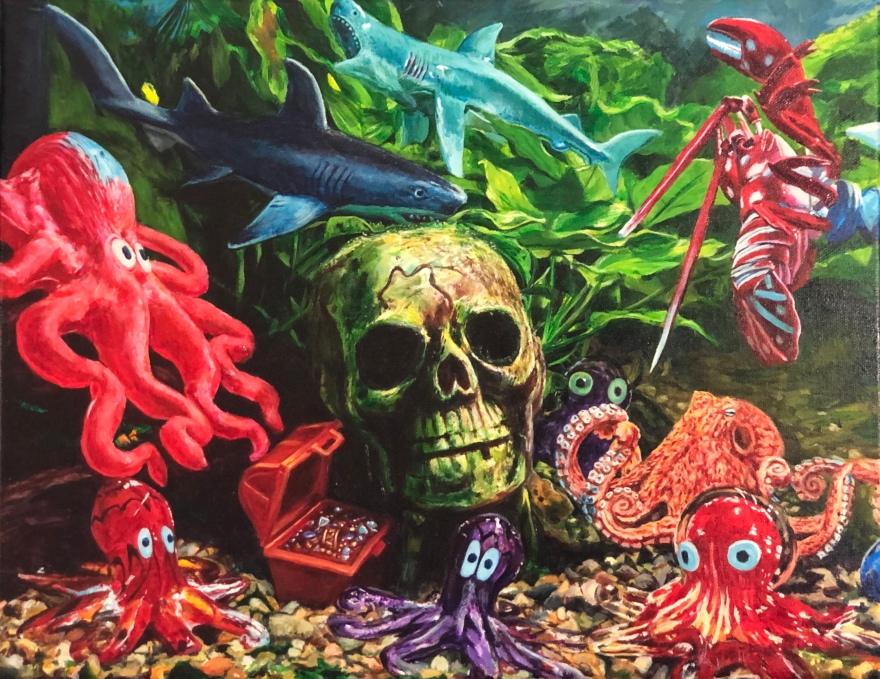 "Skull Harbor 14""x16"" acrylic on canvas"