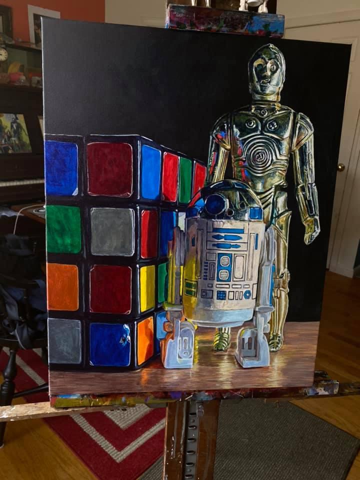 Vintage Droid Figures with Rubik's Revenge