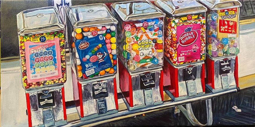 """Good Stuff"" - 10""x20"" - acrylic on canvas. From a photo I took at a dying K-Mart in New Hampshire before the virus. Those Skittles looked like they'd been there for years the way the colors were faded from the top down. ."